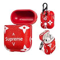 LV LOUIS VUITTON Luxury Supreme Style AirPods Leather Protective Shockproof Case For Apple Airpods 1 & 2