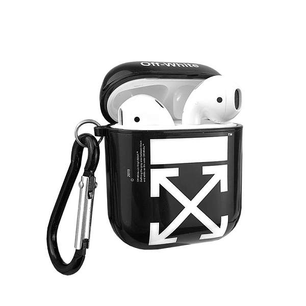 Off White OW Style Glossy Hard Silicone Protective Shockproof Case For Apple Airpods 1 & 2