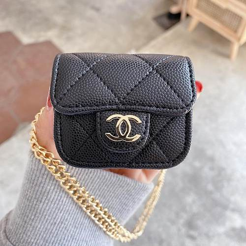 CHANEL LAMB SKIN LEATHER AIRPODS CASE FOR AIRPODS 1/2 3 PRO BLACK