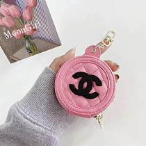 CHANEL Soft Leather Universal AirPods Case 1/2 Or Pro With Anti lost Keychain & Mirror