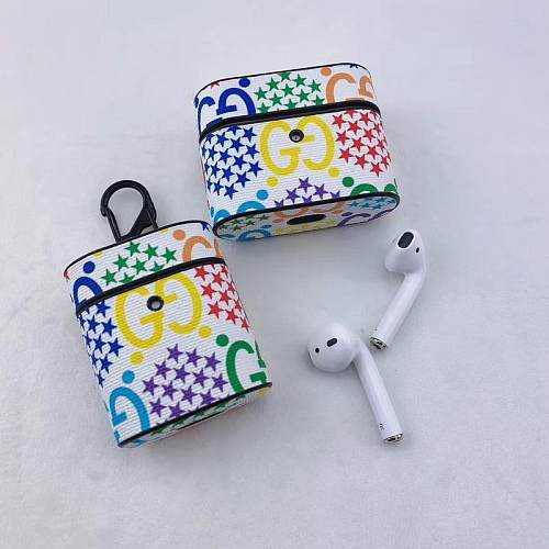 GUCCI Airpods Case For Airpods 1 2 pro Fashion Protective Cover Hook Clasp Keychain Anti Lost Gucci Psychedelic Style Mickey Mouse