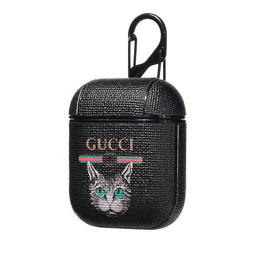 GUCCI CAT STYLE LEATHER SHOCKPROOF AIRPODS CASE