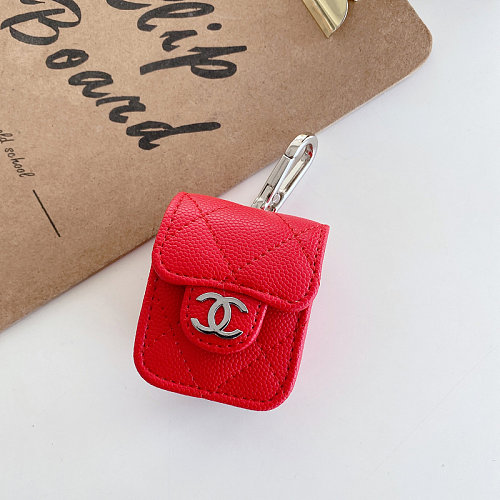 CHANEL AIRPODS PRO LEATHER CASE WITH LANYARD RED EJK-ZMT-XXEJB