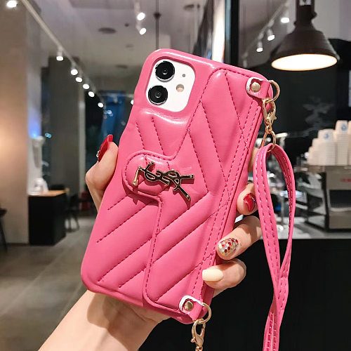 YSL Leather Case With Card Pocket For Iphone 7 8Plus X XR XS MAX 11 12 Pro Max Pink Red Yellow Orange Black Brown Blue Gold