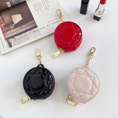 DIOR Soft Leather AirPods Case 1/2 Pro Universal With Mirror & Anti lost Keychain