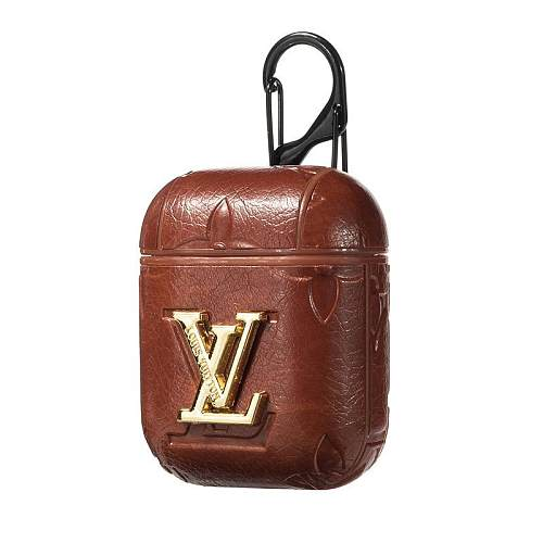 LOUIS VUITTON STYLE LEATHER SHOCKPROOF AIRPODS CASE