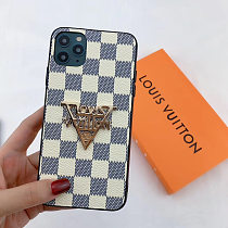 LOUIS VUITTON LV INSPIRED PHONE CASE FOR IPHONE 12 PRO MAX 11 PRO MAX XS MAX XR XS 7 8 PLUS METAL LOGO PU LEATHER