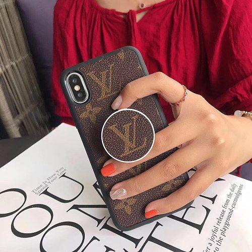 LOUIS VUITTON LV SOFT TUP LEATHER PHONE CASE POP SOCKET FOR IPHONE 12 11 PRO MAX XS MAX XR XS 7 8 PLUS SE2