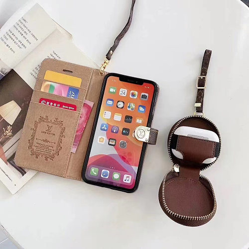 UNIVERSAL AIRPODS CASE SET BURBERRY LEATHER WALLET PHONE CASE FOR IPHONE 11 PRO MAX XS MAX XR XS 7 8 PLUS SE2 WITH CARD SLOT