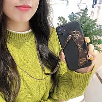 LOUIS VUITTON LV LEATHER FASHION PHONE CASE FOR IPHONE 11 PRO MAX XS MAX XR XS 7 8 PLUS SE2 WITH LANYARD