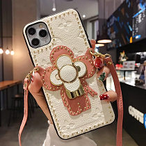 LOUIS VUITTON LV LEATHER PHONE CASE FOR IPHONE 12 11 PRO MAX XS MAX XR XS 7 8 PLUS SE2 WITH LANYARD