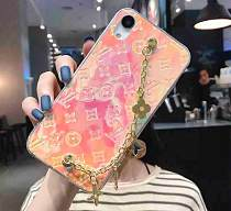 LOUIS VUITTON LV WITH CHAIN SOFT PHONE CASE FOR IPHONE 12 11 PRO MAX XS MAX XR XS 7 8 PLUS SE2 PINK