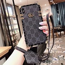 GUCCI TRUNK IPHONE CASE 7 8 PLUS XS XR XS MAX 11 12 PRO MAX WITH METAL LOGO LANYARD 020