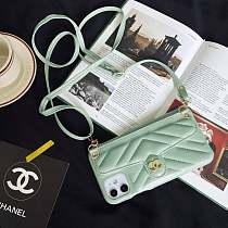 CHANEL PHONE CASE COVER IPHONE MODELS WITH CARD SLOT & LANYARD