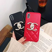 CHANEL LAMBSKIN PHONE CASE COVER IPHONE MODELS METAL LOGO