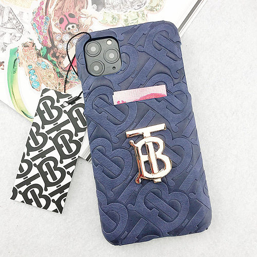 BURBERRY PHONE CASE COVER IPHONE MODELS WITH CARD SLOT HOLDER BIG LOGO