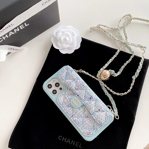 CHANEL WALLET PHONE CASE FOR IPHONE 12 11 PRO MAX MINI XS MAX XR 7 8 PLUS WITH LONG LANYARD & BOX