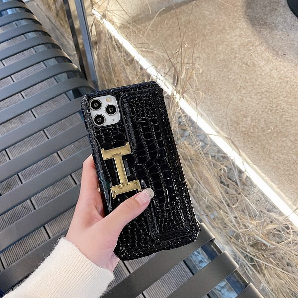 HERMES IPHONE CASE COVER H METAL LOGO CROCODILE SKIN 7 8 SE PLUS XR XS MAX 11 12 PRO MAX  BLACK  RED  BROWN BEIGE LEATHER CARD HOLDER