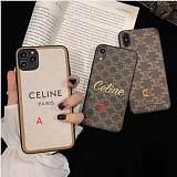 CELINE LEATHER IPHONE 2 PRO MAX 11 PRO MAX XS MAX XR XS 7 8 PLUS SE2020 BROWN WHITE