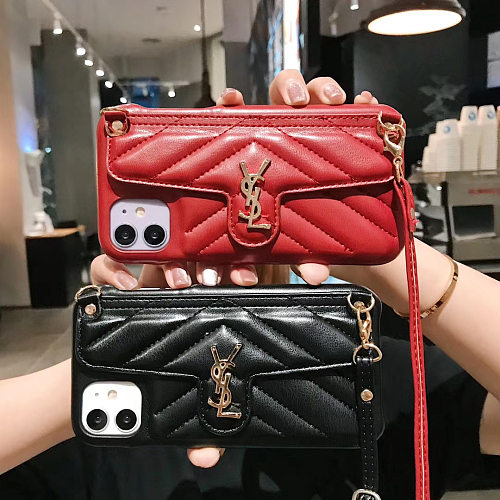 YSL IPHONE WALLET CASE 7 8 PLUS XS XR XS MAX 11 12 PRO MAX CARD HOLDER SLOT WITH LONG LANYARD BLACK RED PINK GREEN YELLOW BROWN ORANGE BEIGE