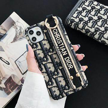 DIOR IPHONE CASE Embroidered 7 8 PLUS XS XR XS MAX 11 12 PRO MAX BLACK WITH STRAP