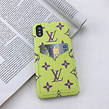 Customized Monogram Phone case LV Pink iPhone XR Wallet Case Cover 11 12 Pro Max XS Max 7 8 Plus Black Blue Green Red White