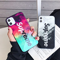Supreme Temp Glass iPhone 11 Case Cover XR 12 Pro Max XS Max 7 8 Plus Black White Red Green