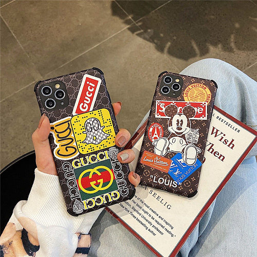 Brands Fashion Designers Phone Cases For iPhone 11 12 Pro XS Max XR 7+ 8+ Plus PINK For Women
