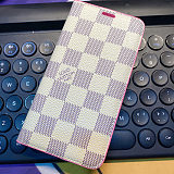LV Wallet iPhone Case With Card Holder Slots Dark Pink