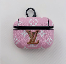 LV Leather ShockProof AirPods Case With Metal Logo Pink
