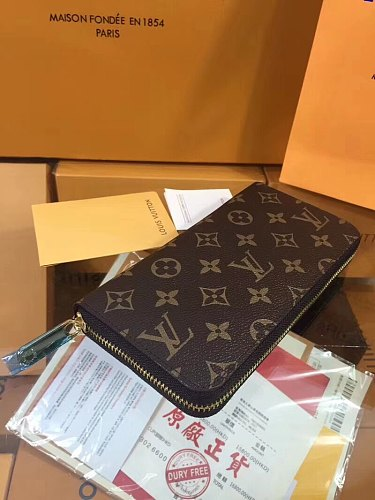 LV Long Zipper Wallets 60017-18-50 Card Holder Brown Black White Cherkered  Monogram With Box