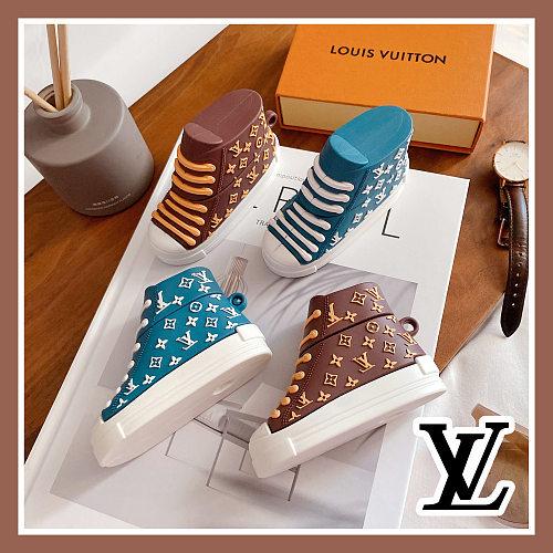 LV Designer Sneaker 3D Silicon AirPods Cases For Gen 1/2 Pro Blue Brown