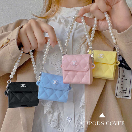 Chanel Bag Design 3D Silicon AirPods Cases For Gen 1/2 Pro With Anti-lost Hook