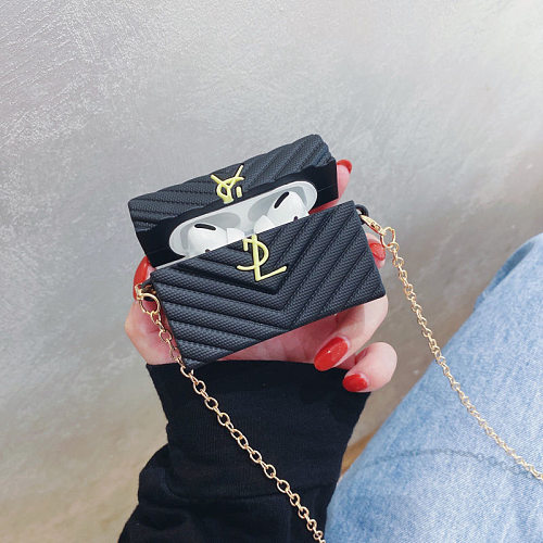 YSL Cross Body Bag Design 3D Silicon AirPods Cases For Gen 1/2 Pro With Anti-lost Hook