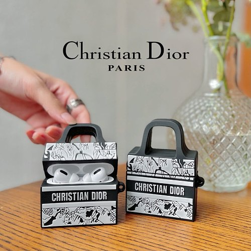 Dior Bags Design 3D Silicon AirPods Cases For Gen 1/2 Pro With Anti-lost Hook