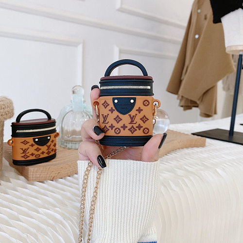 LV Makeup Bags Design 3D Silicon AirPods Cases For Gen 1/2 Pro With Anti-lost Hook