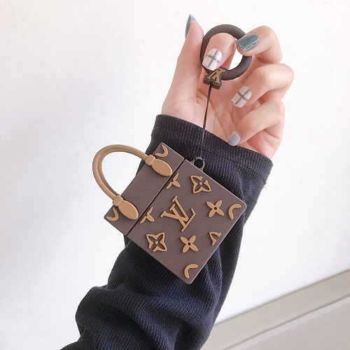LV Hand Bags Design 3D Silicon AirPods Cases For Gen 1/2 Pro With Anti-lost Hook