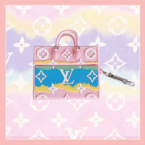 LV Pink Bags Design 3D Silicon AirPods Cases For Gen 1/2 Pro With Anti-lost Hook
