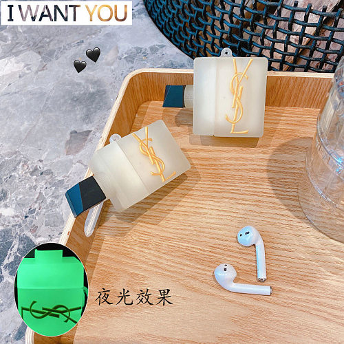 YSL  Design 3D Silicon AirPods Cases For Gen 1/2 Pro With Anti-lost Hook