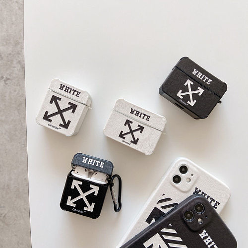 Off White Silicon AirPods Cases For Gen 1/2 Pro With Anti-lost Hook