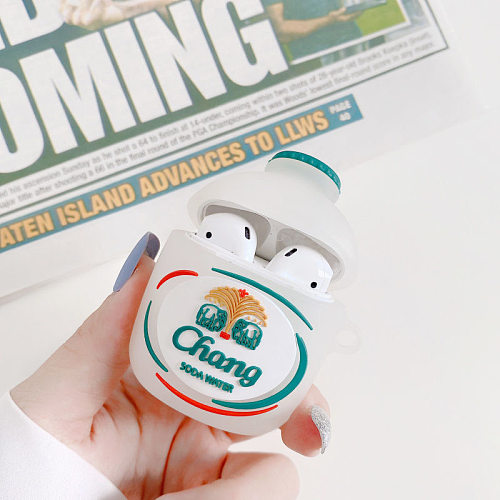 Chang Soda Water 3D Silicon AirPods Cases For Gen 1/2 Pro With Anti-lost Hook