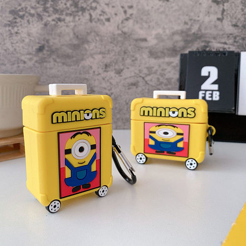 Minions SuitCase 3D Silicon AirPods Cases For Gen 1/2 Pro With Anti-lost Hook
