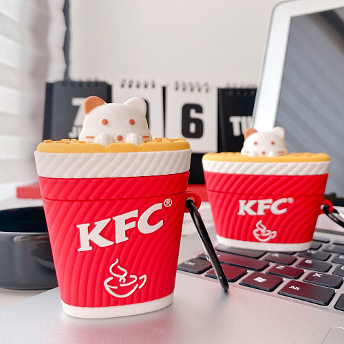 KFC Red 3D Silicon AirPods Cases For Gen 1/2 Pro With Anti-lost Hook