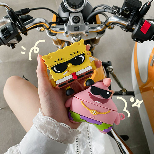SpongeBob 3D Silicon AirPods Cases For Gen 1/2 Pro With Anti-lost Hook
