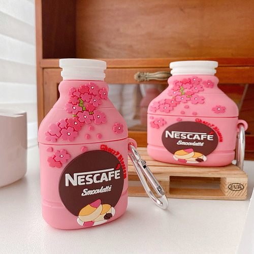 Nescafe Pink Drink 3D Silicon AirPods Cases For Gen 1/2 Pro With Anti-lost Hook