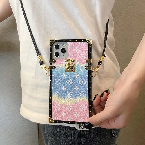 LV Summer Beach  Designer Trunk Phone Case For Samsung Galaxy S8 9 10 11 21 Ultra Note 8 9 10 20 Ultra  Plus Case With Lanyard