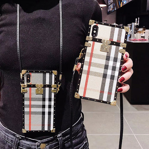 Burberry Inspired Designer Trunk Phone Case For Samsung Galaxy S8 9 10 11 21 Ultra Note 8 9 10 20 Ultra  Plus Case With Lanyard