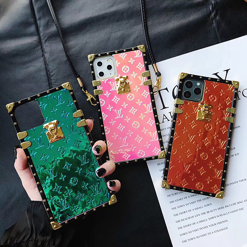 LV Patent Leather Trunk Phone Case For Samsung Galaxy S8 9 10 11 21 Ultra Note 8 9 10 20 Ultra  Plus Case With Lanyard