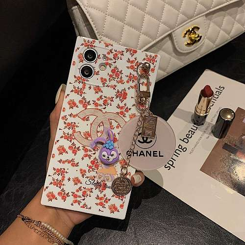 Chanel Square With Pendant iPhone Cases For 7 8 Plus XS XR MAX 11 12 Pro Max Red