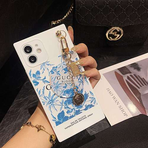 GG Square With Pendant iPhone Cases For 7 8 Plus XS XR MAX 11 12 Pro Max